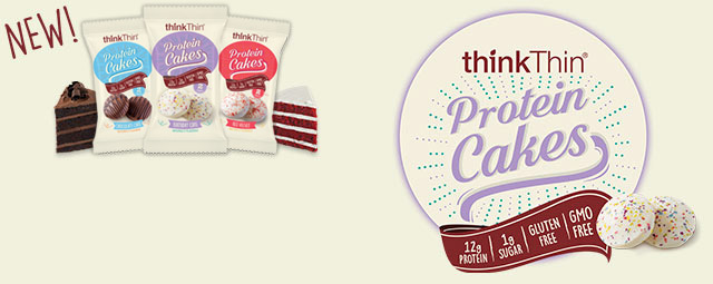 thinkThin® Protein Cakes are a line of protein snacks in indulgent cake flavors. Each round protein cake has a soft, sweet center and is covered in a rich coating of classic frosting flavors. Each package contains two satisfying pieces and delivers 12g of protein. And with 1 gram of sugar and 170 calories per package, they are a balanced way to satisfy your sweet cravings. GMO-free and made with no artificial flavors.