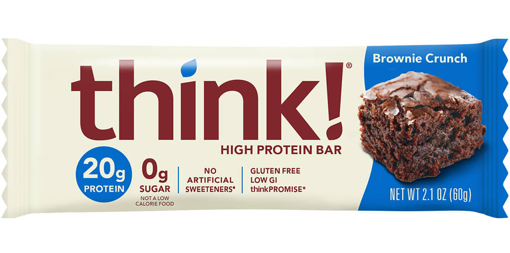 think! High Protein Bar, Brownie Crunch packaging