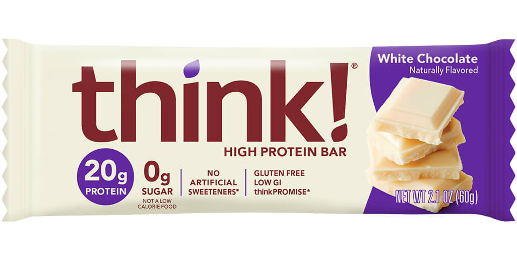 think! High Protein Bar, White Chocolate Flavor packaging