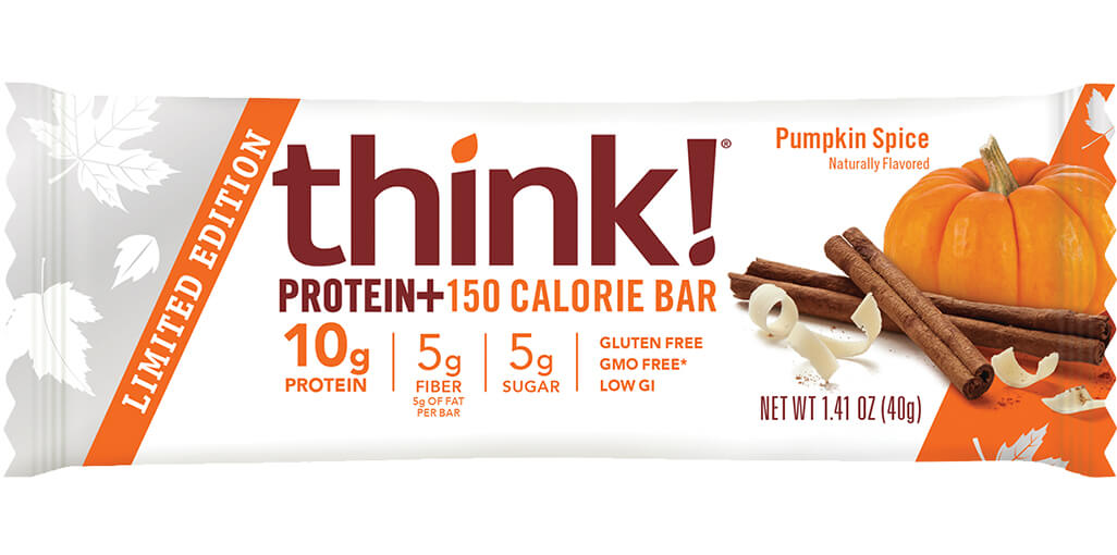 think! Protein+ 150 Calorie Bar, Pumpkin Spice packaging