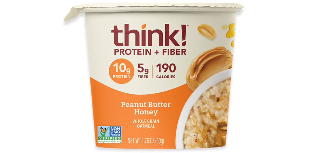 think! Protein & Fiber Oatmeal, Honey Peanut Butter (Bowl) image