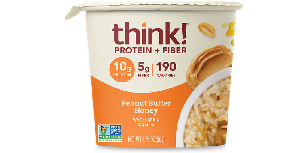 Image of think! Protein + Fiber Oatmeal, Peanut Butter Honey (Bowl) packaging
