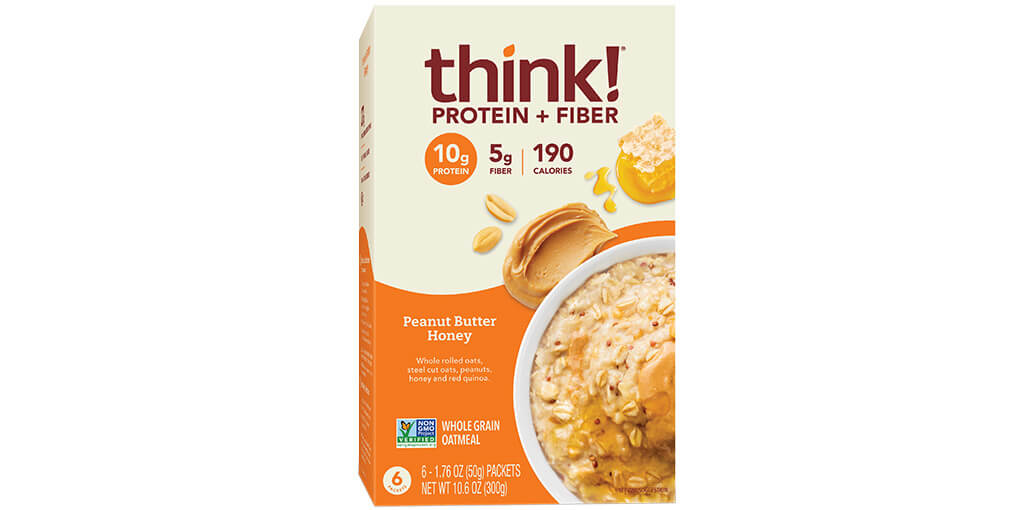 Image of think! Protein + Fiber Oatmeal, Peanut Butter Honey (Box) packaging