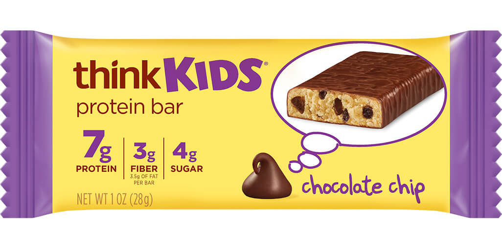 think! thinkKIDS Protein Bars, Chocolate Chip packaging