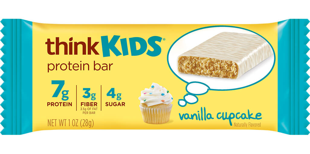 Image of think! thinkKIDS Protein Bars, Vanilla Cupcake packaging