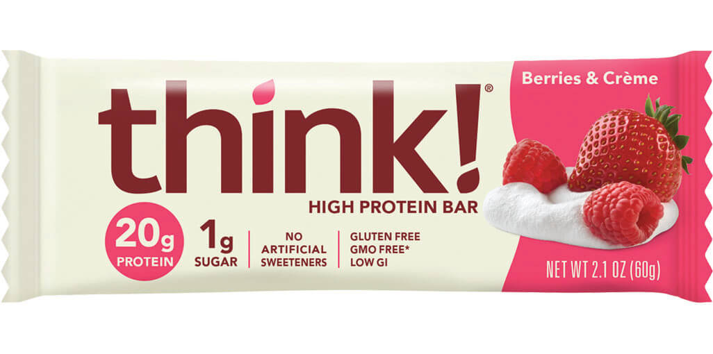think! High Protein Bar, Berries & Crème packaging