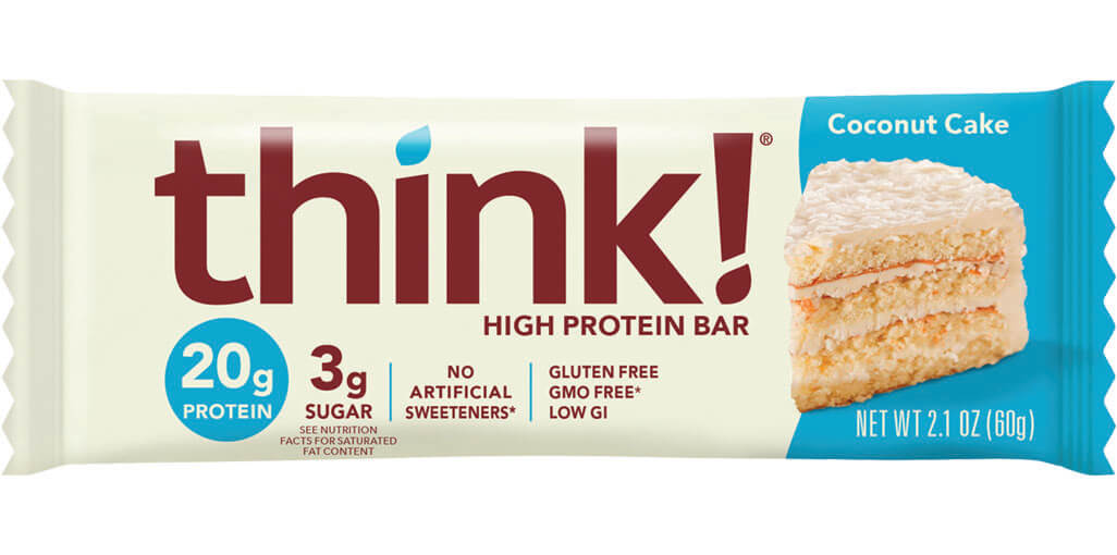 Image of think! High Protein Bar, Coconut Cake packaging