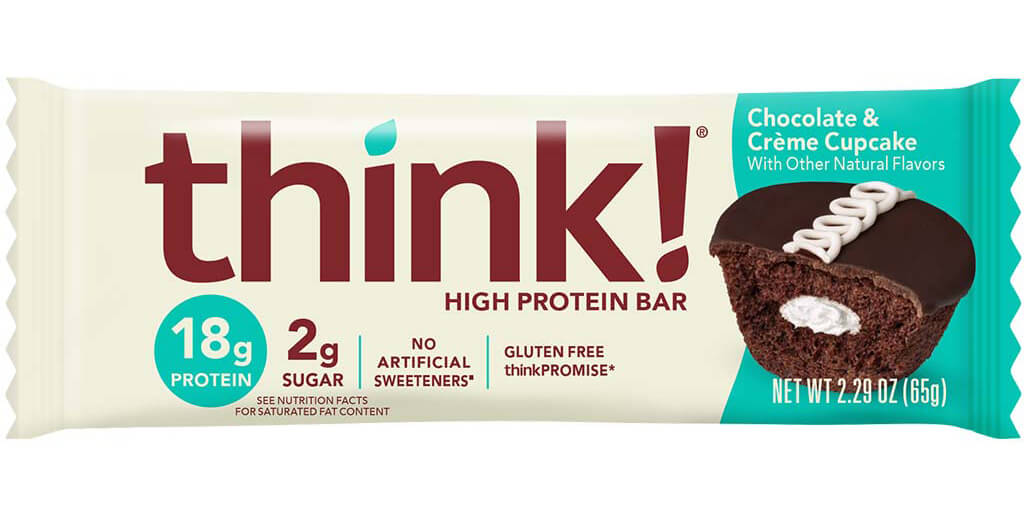 Image of think! High Protein Bar, Chocolate & Crème Cupcake packaging