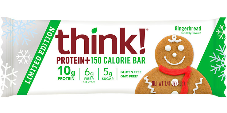 Image of think! Protein+ 150 Calorie Bar, Gingerbread (Limited Edition) packaging